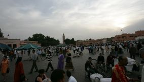 title: Crowded Main Square of Marrakesh