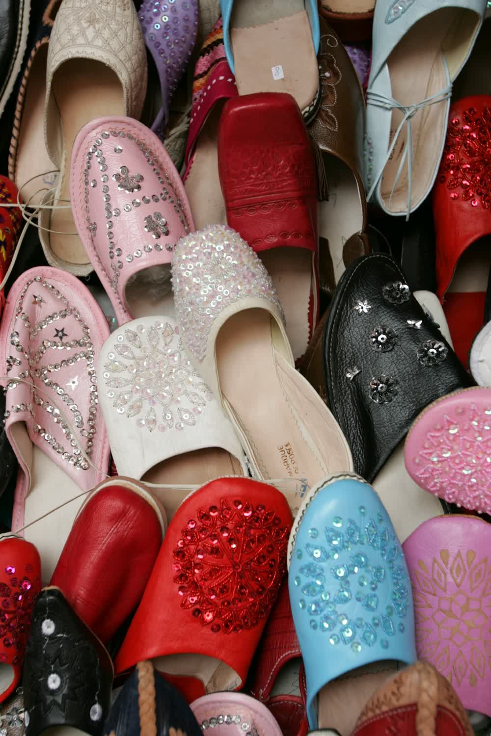 title: Traditional Slippers with Jewels and Studs in the Souks