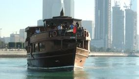 title: Touristic Huge Wooden Traditional Boat Video Located in Mina Abu Dhabi