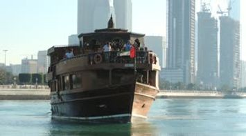 Touristic Huge Wooden Traditional Boat Video Located in Mina Abu Dhabi