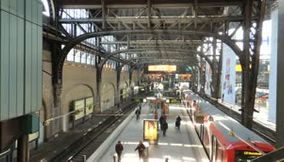 title: The Busy Train Station of Hamburg during Working Hours