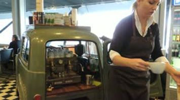 Special Coffee from the Vintage Green Car Stand at ITB Berlin Germany