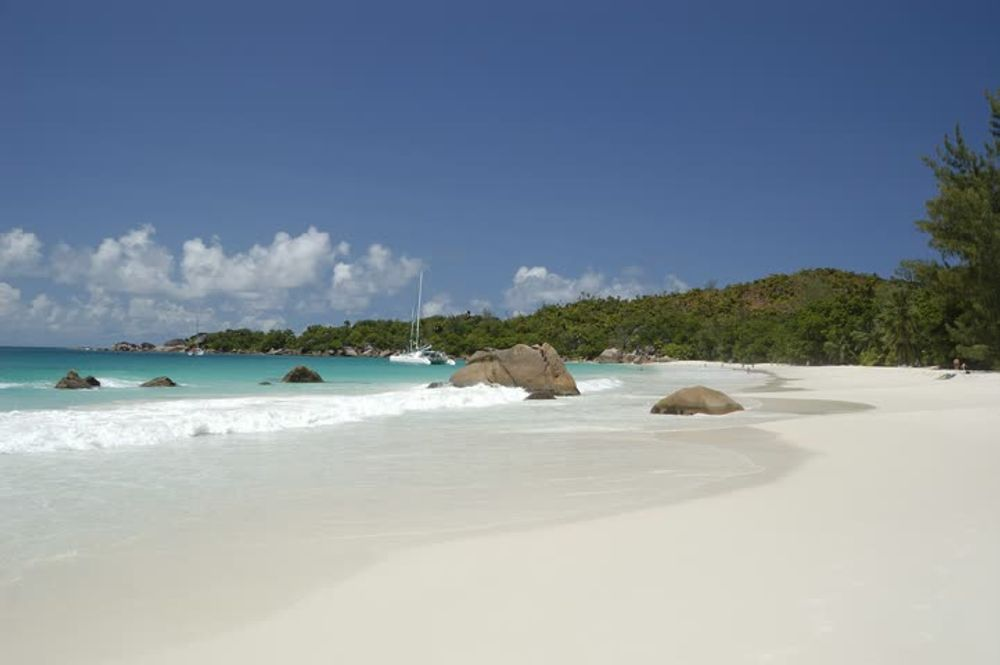 Anse Lazio a perfect crescent of fine grained sand Seychelles