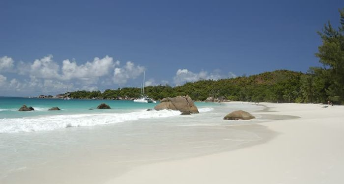 title: Anse Lazio a perfect crescent of fine grained sand Seychelles