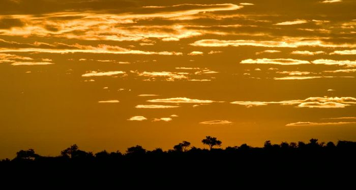 title: Amazing sunset with an orange sky Northern Tuli Game Reserve Botswana