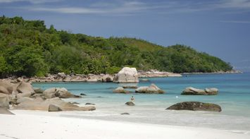 Anse Lazio a perfect crescent of soft sand Seychelles