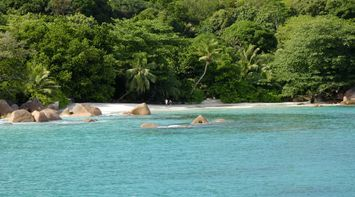 title: Anse Lazio secondary Beach crystal clear turquoise waters Seychelles