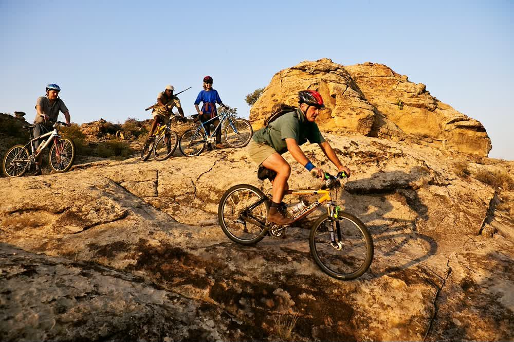 On bikes on a rugged terrain in Northern Tuli Game Reserve Botswana