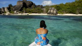 Sailing in Anse Source d Argent Seychelles