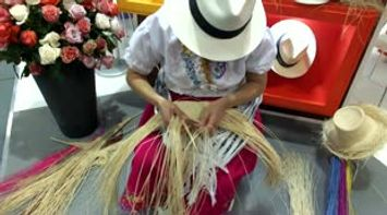 title: Ecuador traditional hat hand made work ITB Berlin Germany