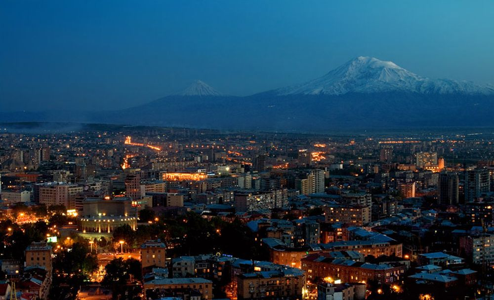 Ararat and evening Yerevan Armenia