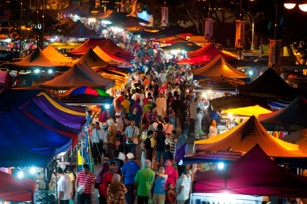 title: Crowded market by night Langkawi