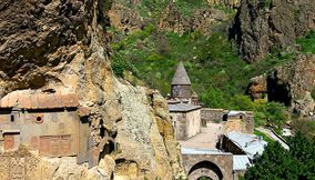 title: Geghard and rocks Armenia