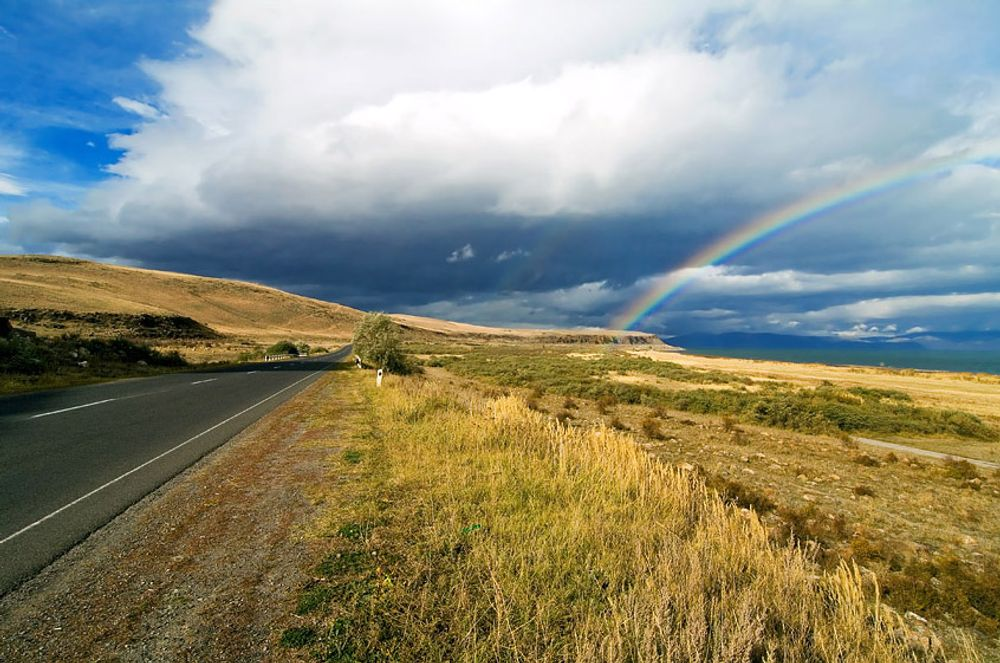 title: Road and rainbow Armenia