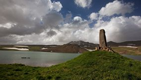 Stone lake at Aragats mount Armenia
