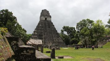 title: Temples in the mist Tikal Guatemala