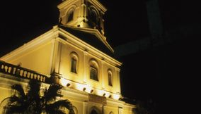 title: our lady of carmel in taipa at night Macau