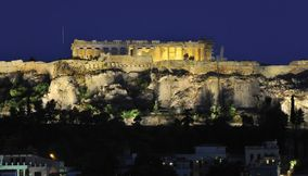 Acropolis by night Athens Attica Greece