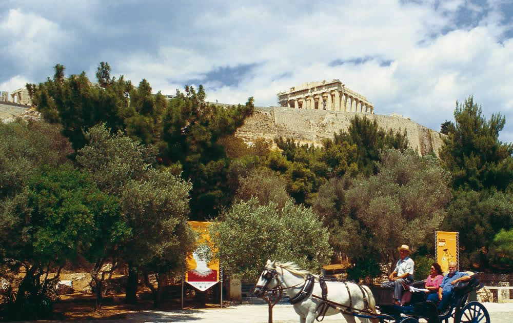 Horse-drawn carriage Acropolis Athens Attica Greece