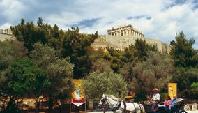 Horse drawn carriage Acropolis Athens Attica Greece