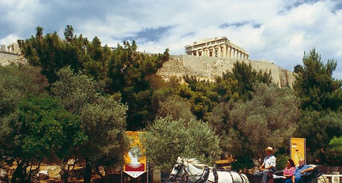 title: Horse drawn carriage Acropolis Athens Attica Greece