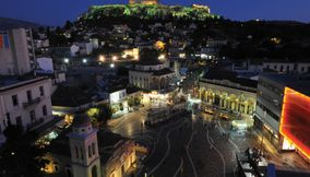 title: Monastiraki Square night lights Athens Attica Greece