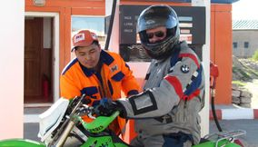 Motorcycle in helmet Mongolia