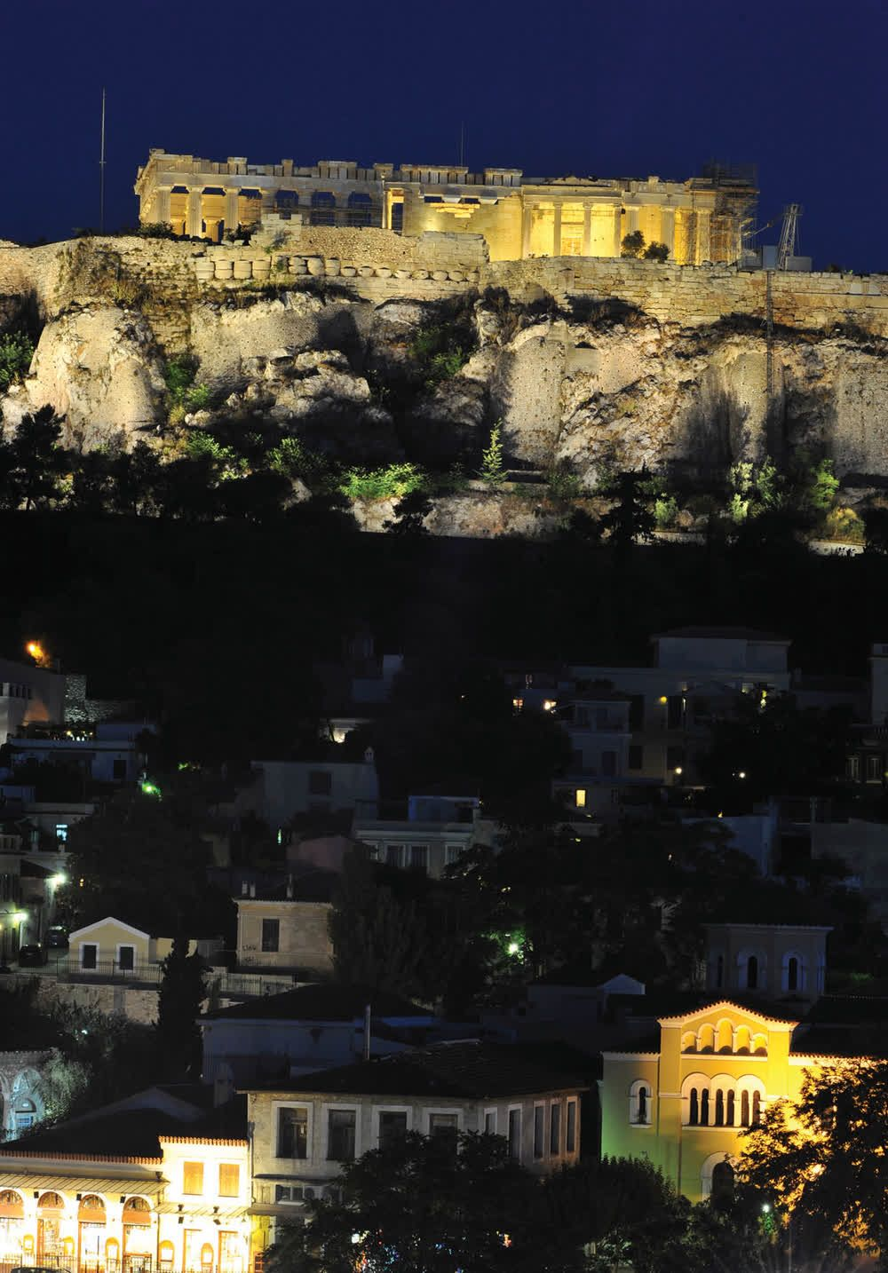 title: Plaka Acropolis by night Athens Attica Greece