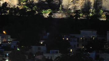 Plaka Acropolis by night Athens Attica Greece