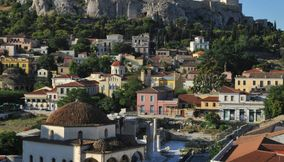 Plaka an attractive area of Athens under the Acropolis Attica Greece
