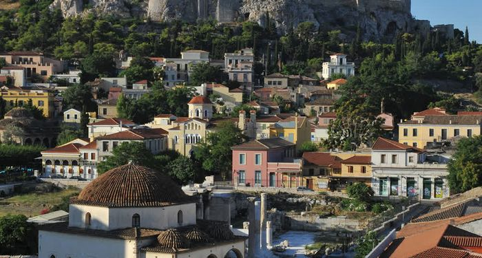 title: Plaka an attractive area of Athens under the Acropolis Attica Greece