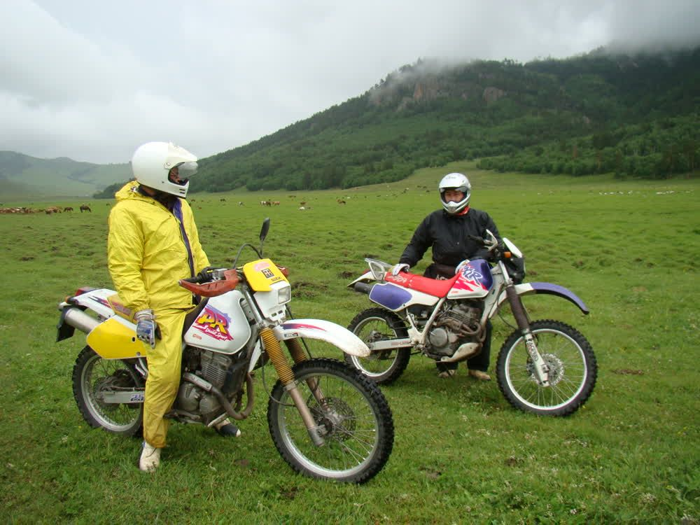 Riding a motorcycle Mongolia