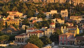 Shining sun over Plaka area Acropolis Athens Attica Greece