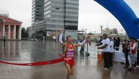 Winner at finishing point Marathon Mongolia