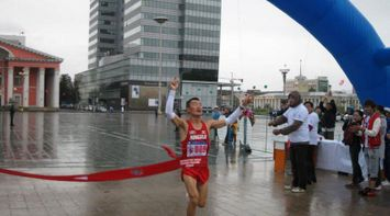 title: Winner at finishing point Marathon Mongolia