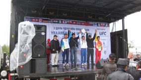 Winners celebration Marathon Mongolia