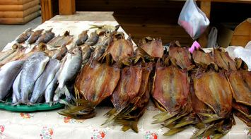 title: Different Varieties of Smoked Fish on Display in Restaurant