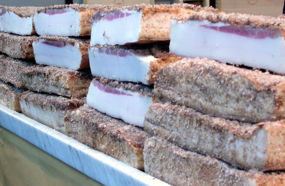 title: Huge Blocks of Uncut Bacon Salo in Russian Market