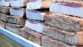 Huge Blocks of Uncut Bacon Salo in Russian Market