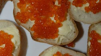 title: Sandwiches of Caviar and Butter in the Zakuska Appetizer Menu