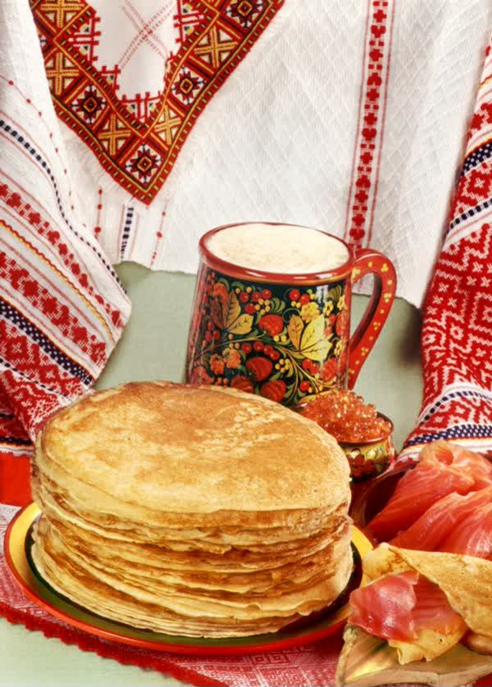 Traditional Blini Russian Pancakes with Smoked Salmon and Sour Cream