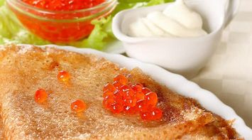 Traditional Caviar and Blini Russian Pancakes in Russia