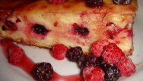 title: Traditional Russian Fruit Zapekanka Cheese Cake Dessert with Berries