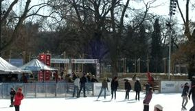 Children Laughing and Playing in the Ice Rink on Ringstrasse in Vienna Austria