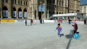 Ice Skating in front of Rathaus City Hall in Vienna Austria