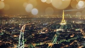 City of Paris and Tour Eiffel Landmark in the Evening