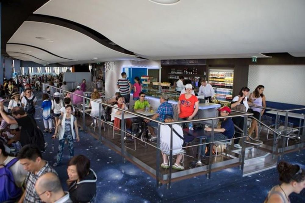 Crowded 360 Cafe at Tour Montparnasse 56