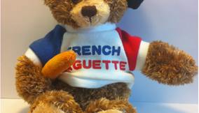 French Baguette Teddy Bear with Beret Hat