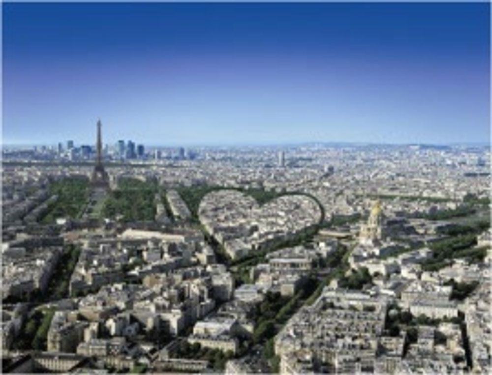 title: Heart Made by Buildings and Landmarks of Paris Seen from Tour Montparnasse