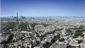 Heart Made by Buildings and Landmarks of Paris Seen from Tour Montparnasse